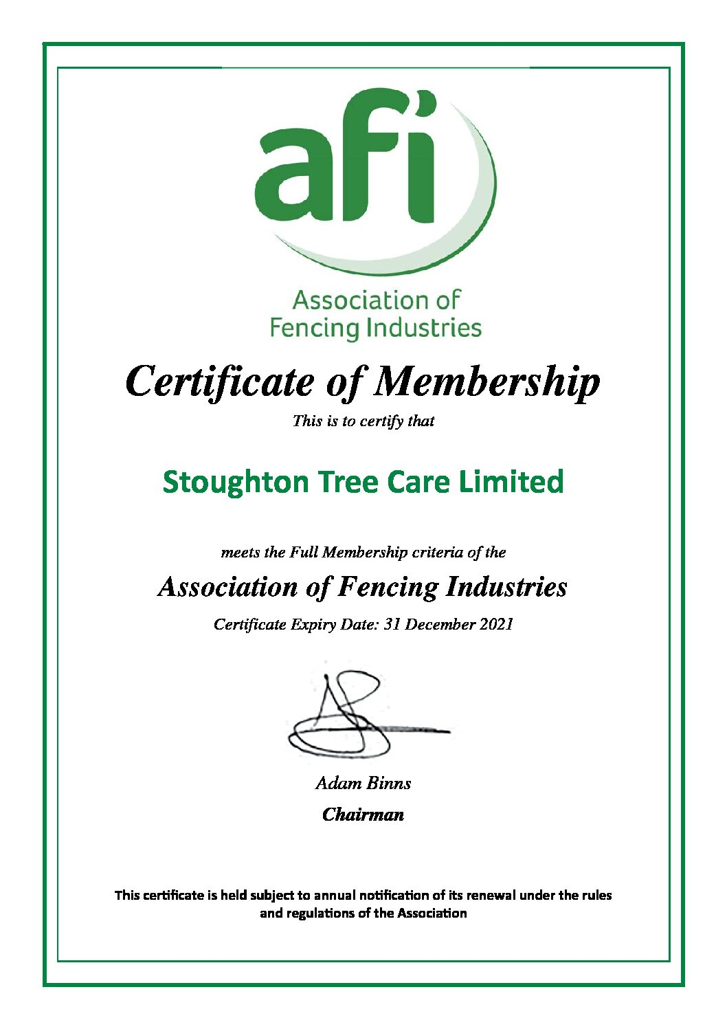 AFI Certificate