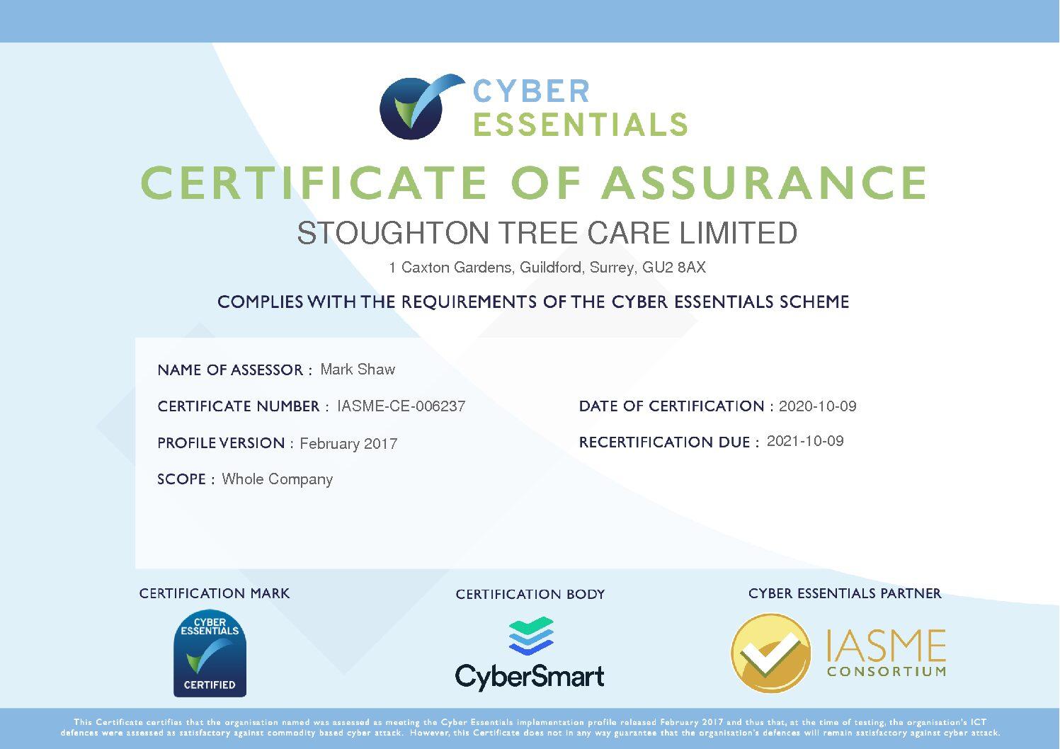STC Cyber Essentials Certificate